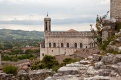 Gubbio italy Landskap av den gamla staden Arkivbilder