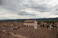 Gubbio italy Landskap av den gamla staden Arkivfoto