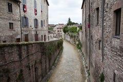 Gubbio italy Landskap av den gamla staden Arkivbild