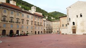 Gubbio, Italy. One of the most beautiful small town in Italy. The main square and the City Hall. Sunset time stock footage