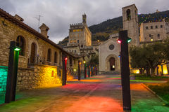 Gubbio by night with christmas lights. Royalty Free Stock Photo