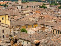 Gubbio, one of the most beautiful small town in Italy. Aerial view of the roofs of the houses from the upper square. Gubbio, one of the most beautiful small town royalty free stock image