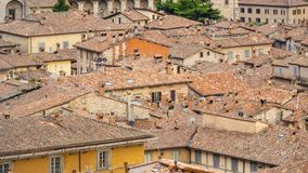 Gubbio, one of the most beautiful small town in Italy. Aerial view of the roofs of the houses from the upper square. Gubbio, one of the most beautiful small town stock photo