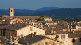Gubbio, one of the most beautiful small town in Italy. Aerial view of the roofs of the houses from the upper square. Sunset time stock photos