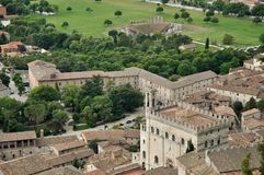 Gubbio palazzo consoli and theater Royalty Free Stock Photography