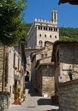 Gubbio - Umbria - view of the town. A street in the typical village go to Palazzo dei Consoli Royalty Free Stock Photo