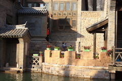 Gubei Water Town. Is located in the Miyun County in Beijing, China. It is backed by one of the most beautiful and the most dangerous Great Wall section Stock Images