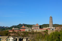 Gubei Water Town, Miyun County, Beijing, China. Gubei Water Town is located in the Miyun County in Beijing, China. It is backed by one of the most beautiful and Royalty Free Stock Images