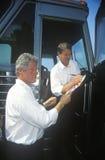 Gubernator Bill Clinton i senator Al Gore na Clinton, krwi Buscapade 1992 Wielkich jeziorach/prowadzimy kampanię wycieczkę turysy Obraz Royalty Free