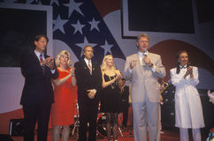 Gubernator Bill Clinton mówi przy przyjęciem przy Little Rock stanu domu convention center w 1992, Little Rock, Arkansas Obraz Stock