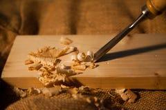 Gubia trabajandola madera Arkivbilder