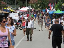 Guca Trumpet Festival 2018. Guca, Serbia, August 11, 2018. 57th Trumpet Festival in Guca. Worldwide known music festival in Serbia. Half million visitors from stock photos