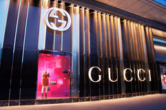 Gucci arbeiten Speicher in China um Stockfoto