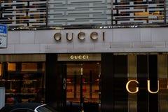 Gucci-Gesch?fts-Logo in Frankfurt stockfotos