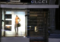 Gucci high fashion store in Florence, Italy  Royalty Free Stock Photos