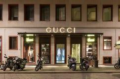 Gucci lager i Milan Arkivbilder