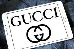 Gucci logo. Logo of fashion company gucci on samsung tablet stock image