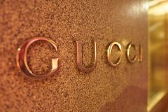 Gucci. MILAN, ITALY - CIRCA NOVEMBER, 2017: close up shot of Gucci sign. Gucci is an Italian luxury brand of fashion and leather goods royalty free stock photography