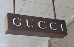 Gucci shop. GUCCI logo on Collins Street Melbourne stock photos