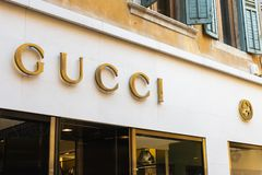 Gucci store facade logo, Gucci is a luxury Italian fashion and leather goods brand, part of the Gucci Group. Verona, Italy - 9 December 2018: Gucci store facade stock image