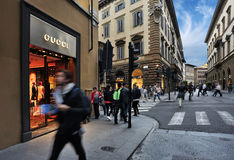 Gucci store sign located in Via Tornabuoni Royalty Free Stock Photography