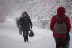 GUDAURI, GEORGIË - FEBRARY 4, 2013: De inwoners van Moskou vielen onder zware sneeuw Stock Fotografie