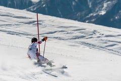 GUDAURI, GEORGIA - MARCH 28, 2015: Georgian skier performs at slalom champion of Georgia Royalty Free Stock Photo