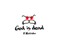 Guden är död Kostnadsförslag med bilden på T-tröjakläder Tanken av filosofen Friedrich Nietzsche Arkivfoto