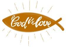 Guden är förälskelse citationstecknet på bakgrunden av hjärtan, calligraphic textsymbol av drog vektorn för kristendomen handen royaltyfri illustrationer