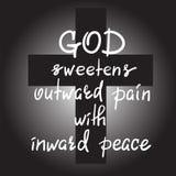 Guden sötar smärtar yttre med inre fred stock illustrationer