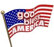 Guden välsignar motto för religion för Amerika USA flaggaFörenta staterna Arkivbilder