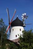 Gudhjem风车, Bornholm,丹麦 免版税图库摄影