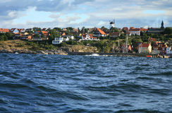 Gudhjem panorama, Denmark Royalty Free Stock Photography