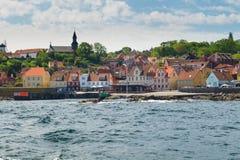Gudhjem vu de la mer Photo libre de droits