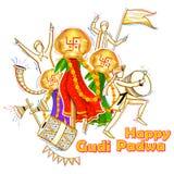Gudi Padwa celebration of India. Illustration of Gudi Padwa Lunar New Year celebration of India Stock Photo
