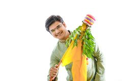 Gudi padwa marathi new year , young indian celebrating gudi padwa festival stock photo