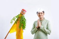 Gudi padwa marathi nowy rok, młody indyjski odświętności gudi padwa festiwal zdjęcia stock
