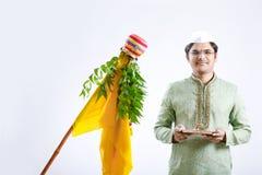 Gudi padwa marathi nowy rok, młody indyjski odświętności gudi padwa festiwal obraz stock