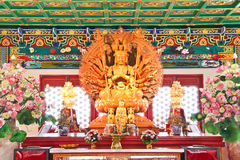 Gudinna av förskoning, Guan Yin, trästaty Royaltyfria Bilder