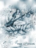 Gudinna av vishet Saraswati för Vasant Panchami India festivalbakgrund Arkivbild