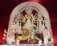 Gudinna Durga i pandal i Kolkata arkivfoton