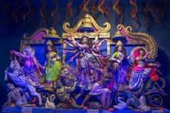 Gudinna Durga Idols som skjutas på mång- kulört ljus royaltyfri fotografi