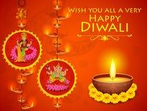 Gudinna Lakshmi och Lord Ganesha i lycklig Diwali ferie av Indien stock illustrationer