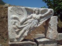 Gudinna Nike på Ephesus Turkiet Arkivfoton