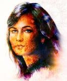 Gudinnakvinna för härlig målning med dekorativt Royaltyfri Foto