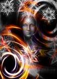 Gudinnakvinna för härlig målning med dekorativt Royaltyfri Bild