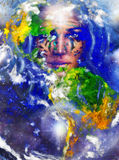 Gudinnakvinna med tatueringen på framsida och jord royaltyfri illustrationer