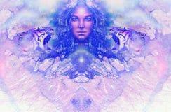 Gudinnakvinna och tiger Datorcollage och marmorstruktur vektor illustrationer