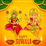 Gudinnan Lakshmi och Lord Ganesha på lycklig Diwali ferie klottrar bakgrund för ljus festival av Indien stock illustrationer