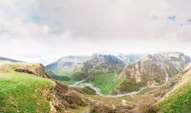 Gudskoye gorge In Georgia, Mtiuleti Region. Spring Mountain Landscape. Panorama of Gudskoye gorge In Georgia, Mtiuleti Region. Spring Mountain Landscape Royalty Free Stock Images